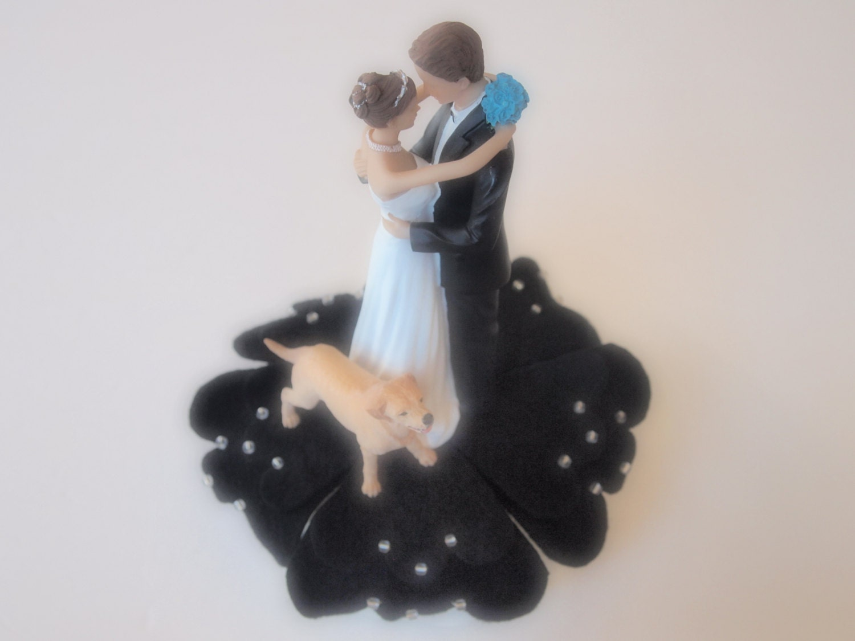 Cake Topper Wedding Bride and Groom Black Dog Golden Retriever