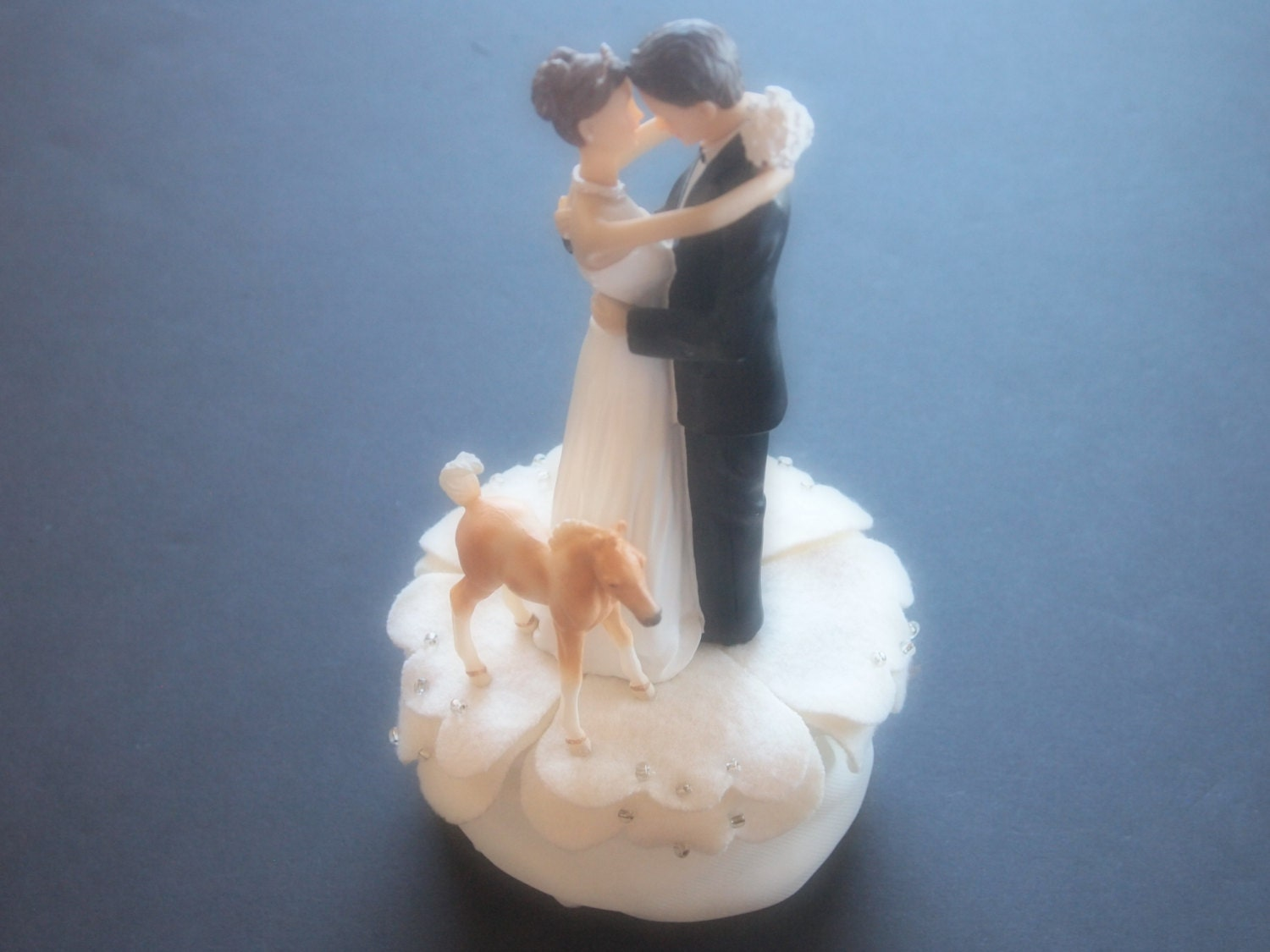 Cake Topper Wedding Ivory Bride and Groom Tan White Pinto