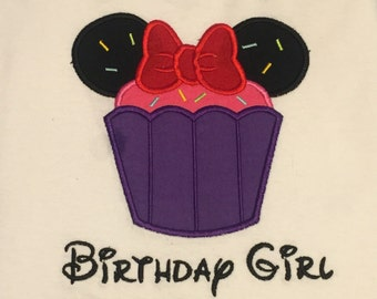Custom Miss Mouse with ears birthday cupcake applique Infant Toddler shirt