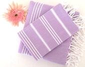 Turkish BATH and Head Towel Set: Handmade Peshtemal and Peshkir, Bathroom decor, Fouta Hammam, beach spa, ecofriendly, lilac,  gift