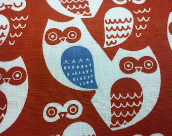 Dark orange owl with blue wing, fat quarter, pure cotton fabric