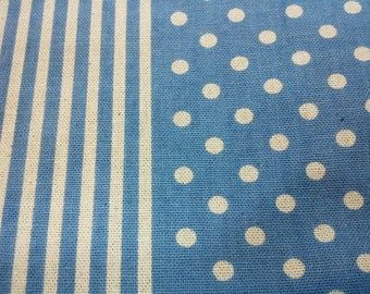 Ivory dot and stripe, blue, 1/2 yard, pure cotton fabric