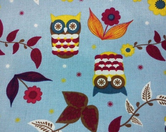 Owl and flower, blue, fat quarter, pure cotton fabric