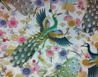 Peacock and cherry blossom, ivory, gold, 1/2 yard, pure cotton fabric