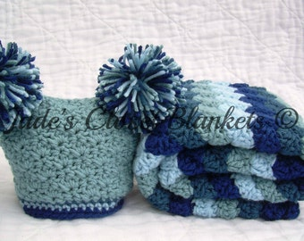 Baby Boy Gift Set, Crochet Blue Baby Travel Blanket and Hat Gift Set, Hues of Blues