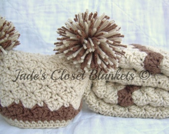Baby Gift Set, Crochet Baby Travel Blanket and Hat Gift Set, Vanilla Latte with Chocolate accents