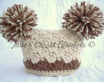 Crochet Off White Tan Brown Baby Hat, Vanilla Latte with Mocha accents, 0 to 18 months