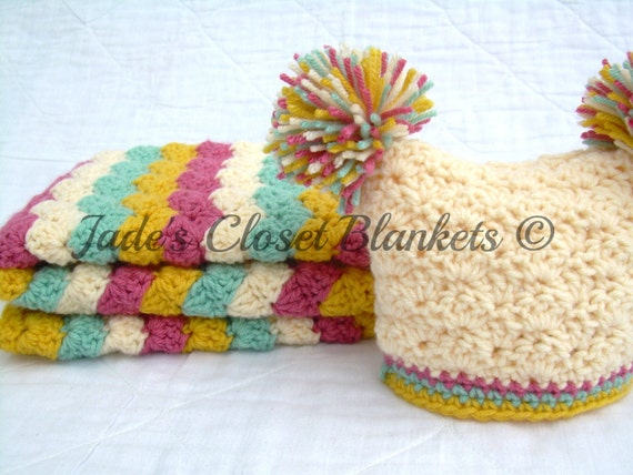 Baby Girl Gift Set, Crochet Baby Travel Blanket and Hat Gift Set, pink, cream, light sage, and yellow