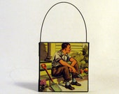 GARDENING DAD ORNAMENT Handmade Ornament from Vintage Upcycled Book Childrens Reader Christmas Ornament Fathers Day Gift