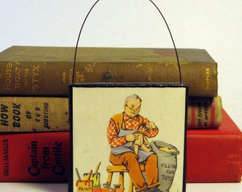 GRANDPA TOYS ORNAMENT Handmade Ornament from Vintage Upcycled Book Childrens Reader Christmas Ornament for Grandfather