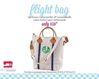 Monogrammed Canvas Flight Bag - More Colors Available