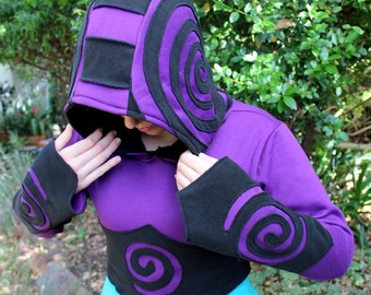 Cropped Spiral Hoodie in Black and Purple