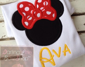 Miss Mouse shirt or bodysuit for girls -- black mouse ears with red polka dot bow, and name in yellow