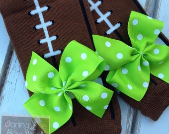 Team Leg Warmers -- Lime green football Leg Warmers -- bow leg warmers for baby girls -- Seahawks