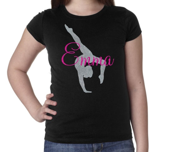Gymnastics Personalized Custom Glitter T Shirt With Your