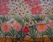 Vintage Neon Floral Poly Fabric 2 yards