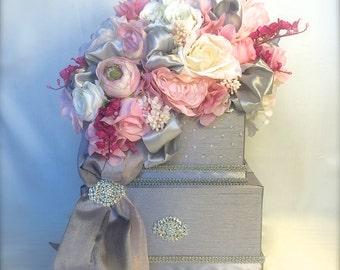 Wedding Card Box Silver and Pink Wedding Card Holder  Secured Lock Wedding Card Box, Diamond Wedding Card Box, Off White Wedding Card Box