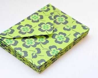 Bright Green 4 Leaf Clover Mini Cards, Set of 4, Blank Cards, Enclosure Cards, Gift Cards