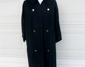 Vintage Black Linen Swing Coat OPEN FRONT Double Breasted M-L