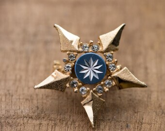 Free Shipping ~ Golden Snowflake ~ Vintage Starburst Aluminium Gold Tone Pin Brooch