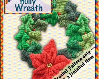 PDF Crochet Pattern Christmas Holly Wreath