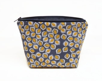 makeup bag zipper pouch zipper bag makeup pouch leaves navy gold