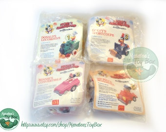 Vintage Disney Pull Back Cars Unopened Set of Four: Mickey, Minnie, Donald and Goofy