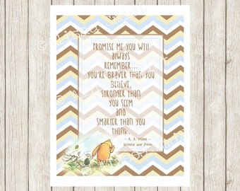 Winnie the Pooh Nursery Print- nursery decor, nursery sign, pooh bear print, brown, blue, promise me, stronger, believe, Piglet, baby