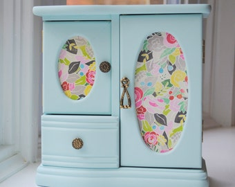 Vintage Jewelry Box, Light Blue with Matte Finish, Floral Doors, Cork lining, Modern Updates
