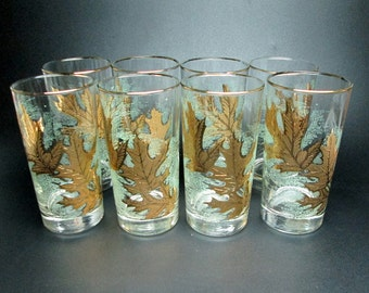 gold OAK LEAVES set of eight vintage 1950's glasses on a green background iced tea tumblers leaf