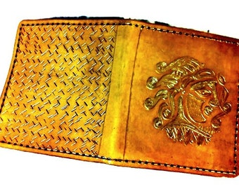 Ancient Coin Wallet - Celtic Irish Gift - Yellow Wallet - Men's Leather Wallet - greek - Book of KELLS, Holds 8 cards,1 bill compartment