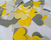 200 Paper Heart Confetti - Yellow and Gray Wedding Confetti - Yellow and Gray Bridal Shower Decor- table scatter Custom Colors