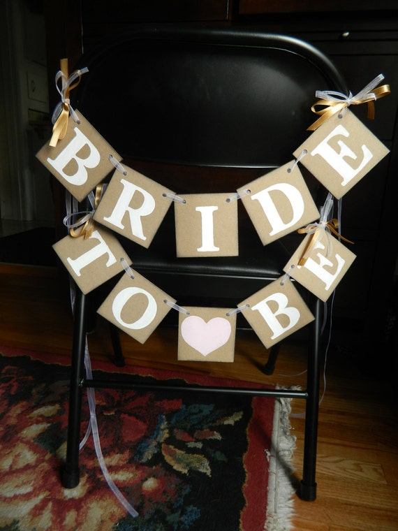 BRIDAL SHOWER - Bride to Be Chair Banners - Bachelorette Party Sign - Bridal shower Banners - You Pick the Colors