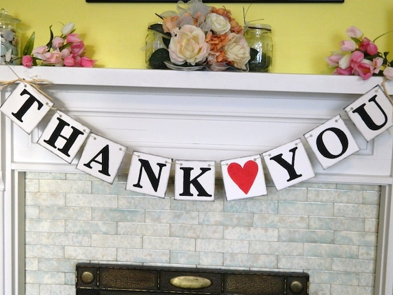 THANK YOU Sign - Wedding Banner- Rustic Wedding Garland - barn Wedding Sign - Wedding Photo Prop - Can be Customized