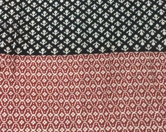 1 Meter  indian  Cotton  fabric in black,white and red