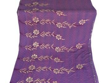 Used Sari in purple Dress  Making fabric sarong drape Embroidered Sari