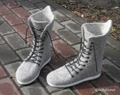 CUSTOM for H. Felted wool sneakers in grey. Outdoor wet felted shoes with rubber soles. Eco fashion shoes for women, woman.