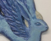 Animal Angels: Blue Purple Bunny with Silver Halo