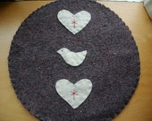 Wool Trivet - Bird and Hearts