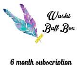 JULY Washi Buff Box 6 Month Subscription Snail Mail Subscription Box Monthly Subscription Washi Box Washi Tape Surprise Mystery Box
