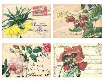 Vintage flowers  POST CARDS, botanical plants French Script -   8 Gift tags, 5x3.5 in Printable Digital Collage Sheet to downloadable 122AB