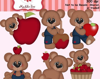 Fall Apples Bear 1 Clipart (Digital Download)