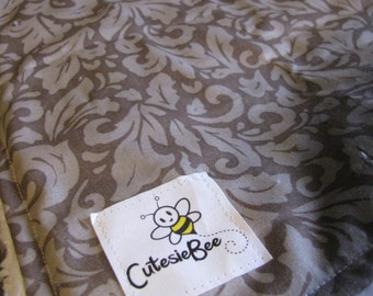Charcoal Damask Blanket CLEARANCE