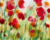 Original Encaustic Painting - Poppy Painting - Encaustic Poppies Painting  - FloraL Painting - Encaustic Art - KLynnsArt