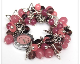 Chunky Beaded PINK and Silver Cluster Wrist watch