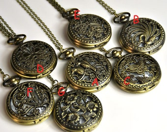 1pcs Large Hollow pocket watch necklace with chain /pocket watch/Bridesmaid , Christmas gifts, friends, children's gifts
