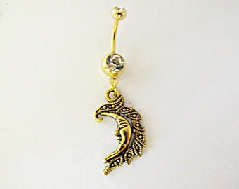 Belly Ring,   Gold Tone Filigree Moon  Womens Gift  Handmade