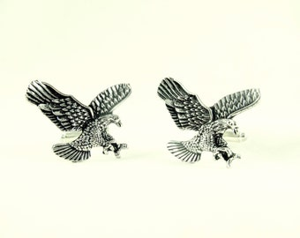 Mens Cufflinks, Silver Eagles Traditional American Style Cufflinks Mens Accessories  Handmade