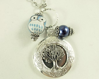 Silver Tree of Life and Owl Necklace Pearls