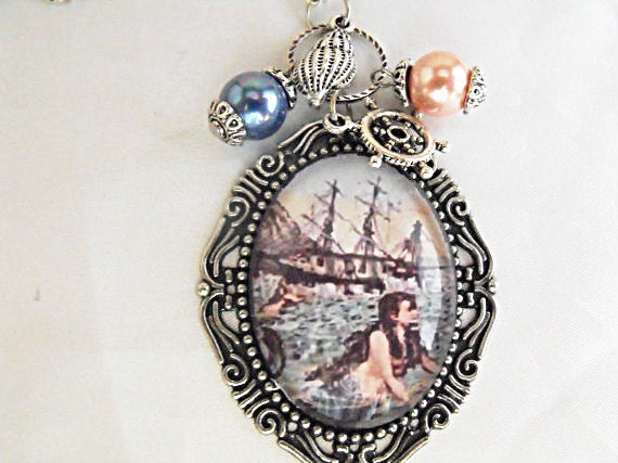 Nautical Steampunk Mermaid  Image Pendant Necklace